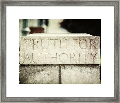 Lucretia Mott Truth For Authority Framed Print by Lisa Russo