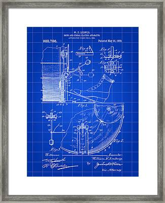 Ludwig Drum And Cymbal Foot Pedal Patent 1909 - Blue Framed Print by Stephen Younts