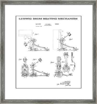 Ludwig Drum Pedal 2 Patent Art 1951 Framed Print by Daniel Hagerman