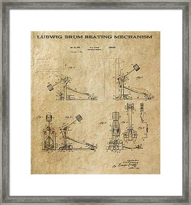 Ludwig Drum Pedal 3 Patent Art 1951 Framed Print by Daniel Hagerman