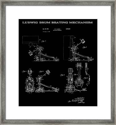Ludwig Drum Pedal 4 Patent Art 1951 Framed Print by Daniel Hagerman