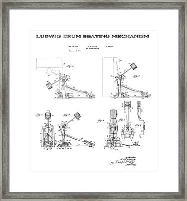 Ludwig Drum Pedal Patent Art 1951 Framed Print by Daniel Hagerman