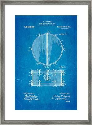 Ludwig Snare Drum Patent Art 1912 Blueprint Framed Print by Ian Monk