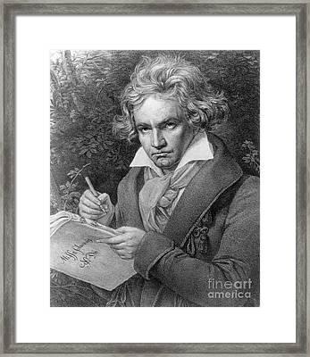 Ludwig Van Beethoven Framed Print by Joseph Carl Stieler