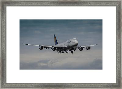 Lufthansa Boeing 747 Landing  Framed Print by Puget  Exposure