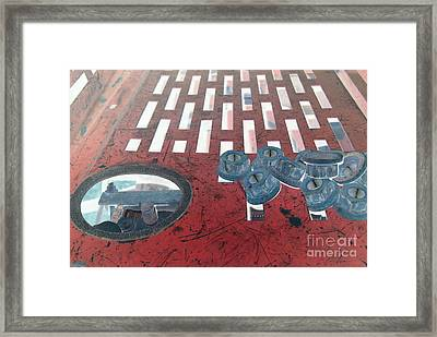 Lug Nuts On Grate And Circle H Framed Print by Heather Kirk