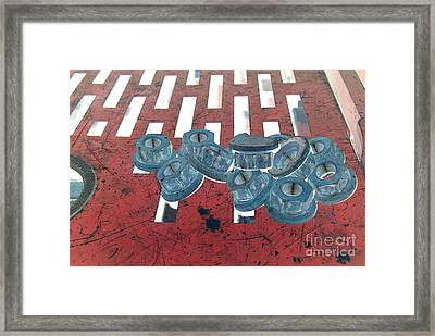Lug Nuts On Grate Horizontal Framed Print by Heather Kirk