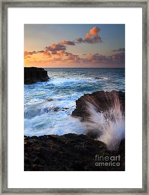 Lumahai Sea Explosion Framed Print by Mike  Dawson