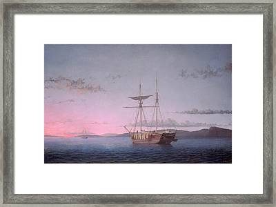 Lumber Schooners At Evening On Penobscot Bay Framed Print by Fitz Henry Lane