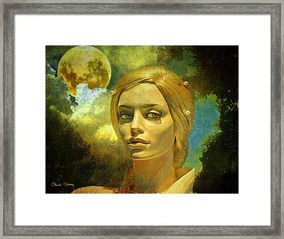 Man In The Moon Framed Print featuring the mixed media Luna In The Garden Of Evil by Chuck Staley