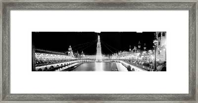 Luna Park At Night Coney Island Framed Print by Georgia Fowler