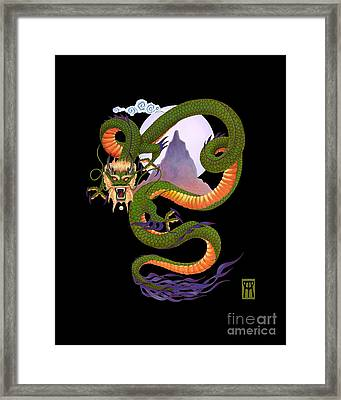 Lunar Chinese Dragon On Black Framed Print by Melissa A Benson