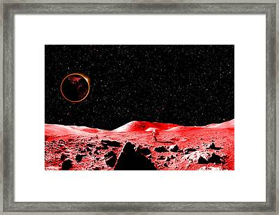 Lunar Eclipse As Seen From The Moon Framed Print by J D Owen