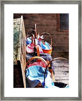 Lunch Baskets In One Room Schoolhouse Framed Print by Susan Savad