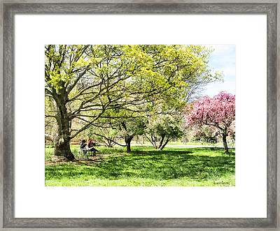 Lunch In The Park In Spring Framed Print by Susan Savad
