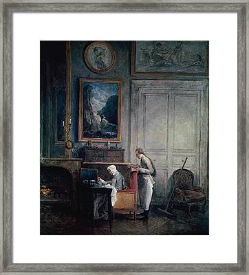 Lunch Of Madame Geoffrin Oil On Canvas Framed Print by Hubert Robert