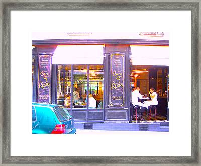Lunch Time At The Cafe St Regis In Paris Framed Print by Jan Matson