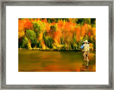 Lure Of Fly Fishing Framed Print by Lourry Legarde