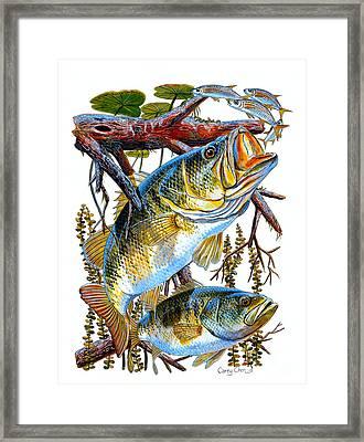 Lurking Bass Framed Print by Carey Chen
