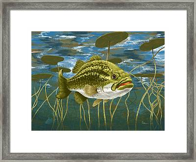 Lurking Lunker Framed Print by Kevin Putman