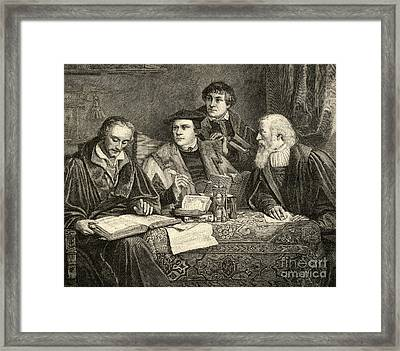 Luther Melancthon Pomeranus And Cruciger Translating  Framed Print by English School