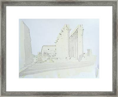 Luxor Temple Wc On Paper Framed Print by Charlie Millar