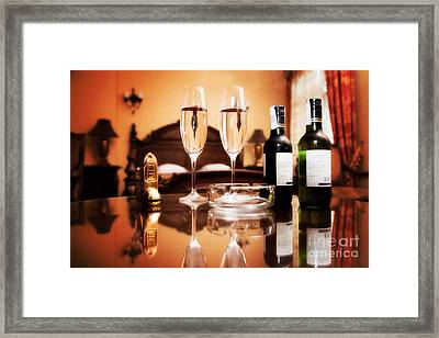 Luxury Interior Hotel Room With Elegant Service Framed Print by Michal Bednarek