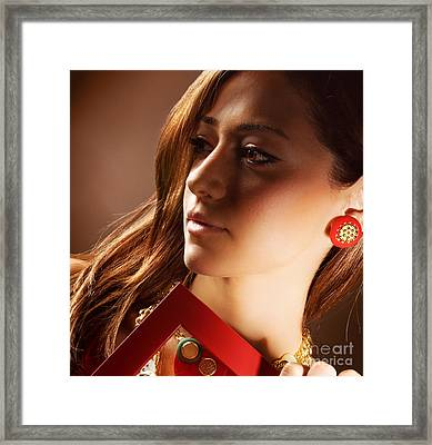 Luxury Young Lady Framed Print by Anna Omelchenko