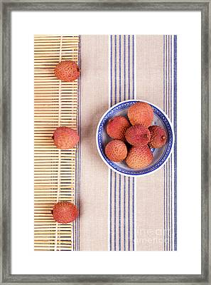 Lychess With Bamboo Mat Framed Print by Jane Rix