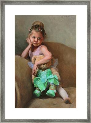 Lydia And Tinker Bear Framed Print by Anna Rose Bain