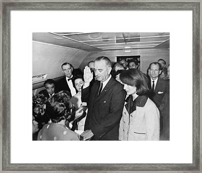 Lyndon Johnson Sworn In Framed Print by Cecil W. Stoughton