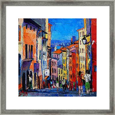 Lyon Colorful Cityscape Framed Print by Mona Edulesco
