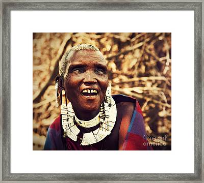 Maasai Old Woman Portrait In Tanzania Framed Print by Michal Bednarek