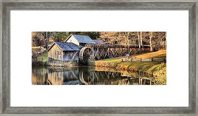Mabry Grist Mill Fall Panorama Framed Print by Adam Jewell