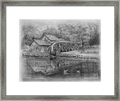 Mabry Mill Pencil Drawing Framed Print by Lena Auxier