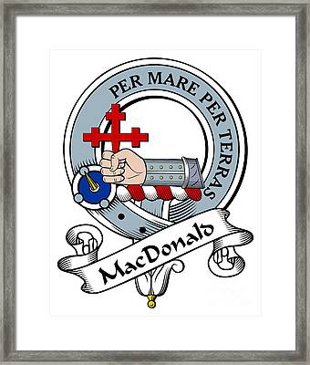 Macdonald Of Sleat Clan Badge Framed Print by Heraldry