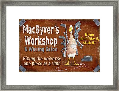 Macgyvers Workshop Framed Print by JQ Licensing