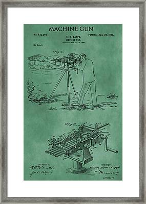 Machine Gun Patent Green Framed Print by Dan Sproul