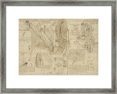 Machines To Lift Water Draw Water From Well And Bring It Into Houses From Atlantic Codex  Framed Print by Leonardo Da Vinci
