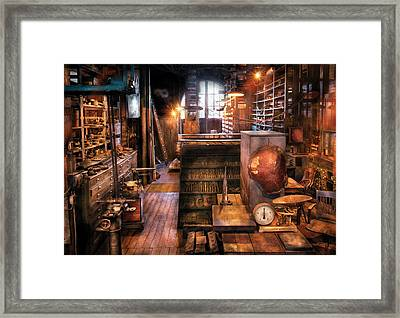 Machinist - Ed's Stock Room Framed Print by Mike Savad