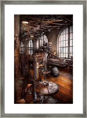 Machinist - Industrial Drill Press  Framed Print by Mike Savad