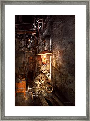 Machinist - Lathe - The Corner Of An Old Workshop Framed Print by Mike Savad