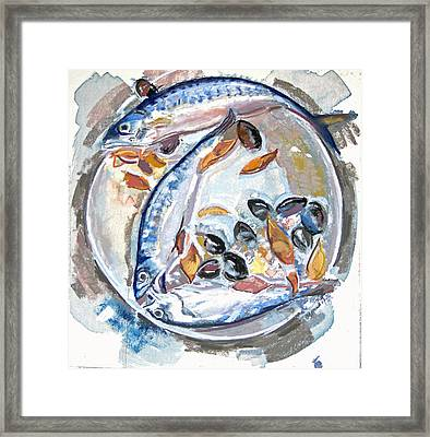 Mackerel Mussels Leaves Framed Print by Grace Keown