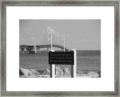 Mackinac Bridge Black And White Framed Print by Dan Sproul
