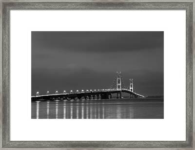 Mackinac Bridge Black And White Framed Print by Sebastian Musial