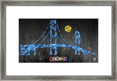 Mackinac Bridge Michigan License Plate Art Framed Print by Design Turnpike