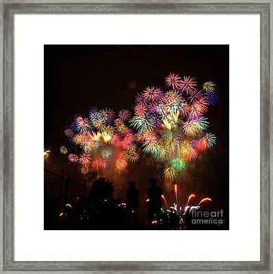Macy's July 4th Fireworks New York City  Framed Print by Nishanth Gopinathan
