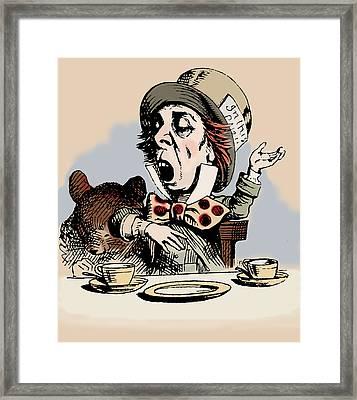 Mad Hatter Color Framed Print by John Tenniel