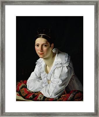 Madama Claude Marie Dubufe Framed Print by Claude-Marie Dubufe
