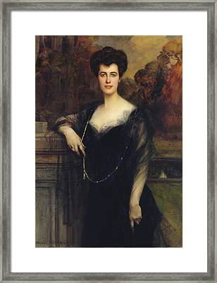 Madame Faure, 1901 Oil On Canvas Framed Print by Francois Flameng